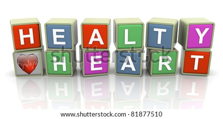 3d colorful buzzword series - text 'healthy heart'