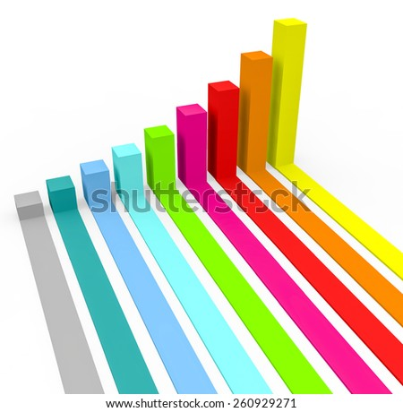 3d colorful charts bar on a white background.  - stock photo