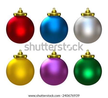 3D Colorful Christmas balls set of six, object isolated - stock photo