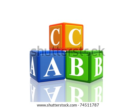 3d colorful cubes with letters abc - stock photo