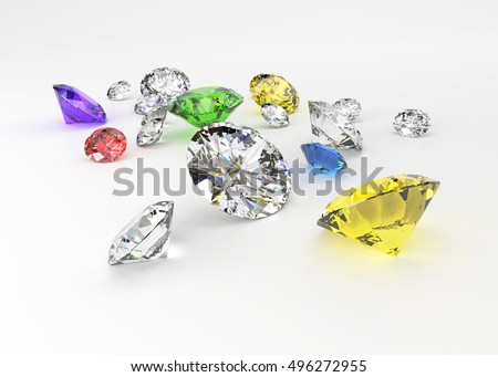 3D Colorful Diamonds isolated on white  background.