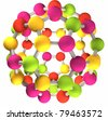 3D colorful fullerene molecular structure - stock photo