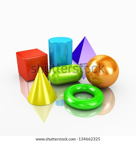 3d colorful geometric shapes primitives - stock photo