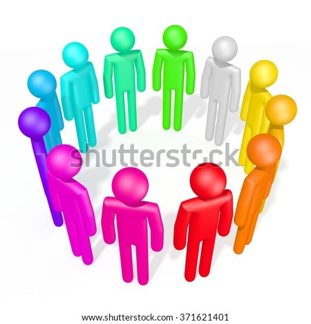 3D colorful human characters - great for topics like teamwork, variety, homosexuals etc. - stock photo