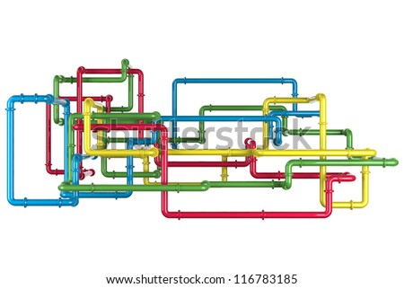 3D Colorful Pipes - stock photo
