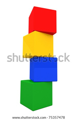 3d colorful plastic cube in vertical - stock photo