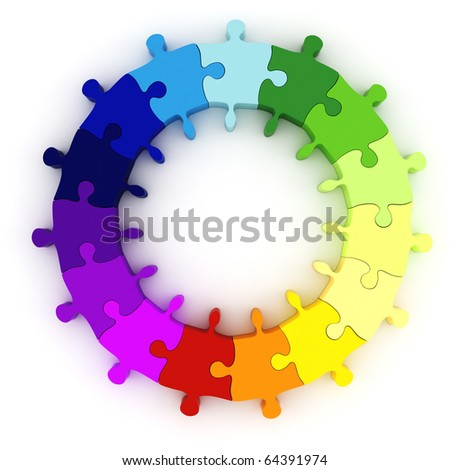 3d colorful puzzle chart wheel - stock photo
