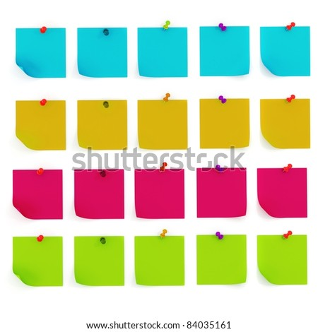 3d colorful sticky notes - stock photo