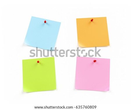 3d colorful Sticky Notes on White Background