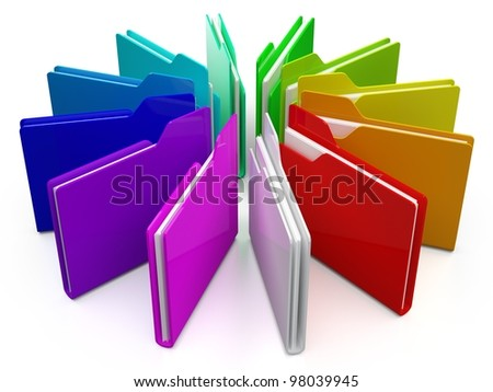 3d colorfull folders, on white background - stock photo