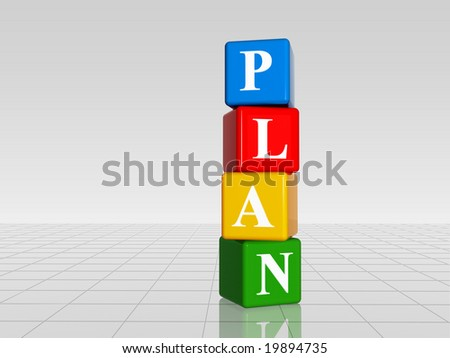 3d colour boxes with white letters with text plan with reflection