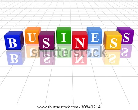 3d colour cubes with text - business, word, with reflection - stock photo