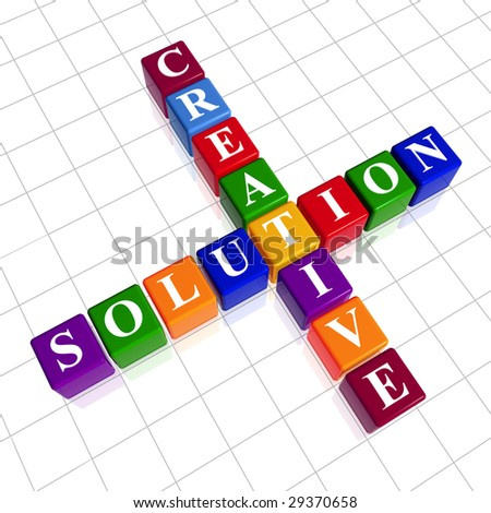 3d colour cubes with white letters like crossword with text - creative solution - stock photo