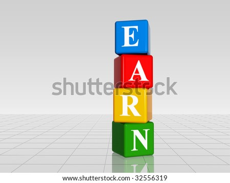 3d colour cubes with white letters with text earn with reflection