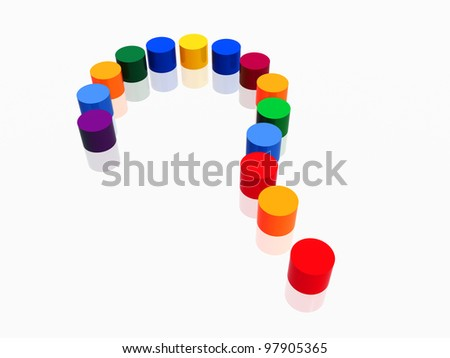 3d colour cylinders arranged like question-mark - stock photo