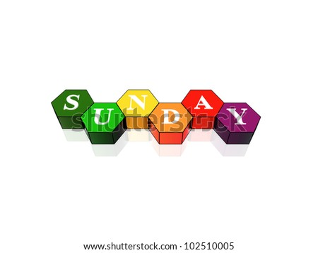 3d coloured hexagons with letters makes sunday - stock photo