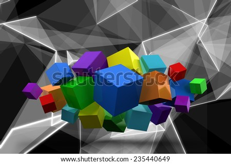 3d colourful cubes floating in a cluster against abstract glowing black background - stock photo