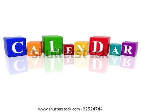 3d colourful cubes with letters makes calendar