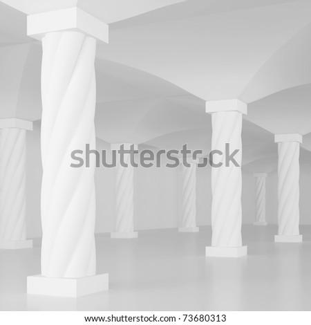 3d Columns Interior - stock photo