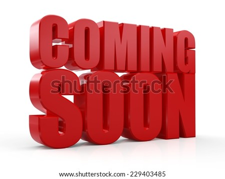 3D Coming Soon red text on white background - stock photo