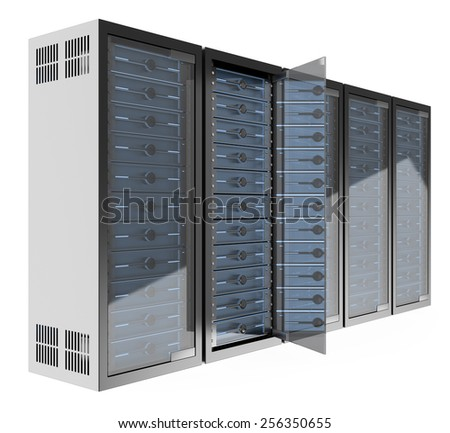 3d Communications rack. Isolated white background.