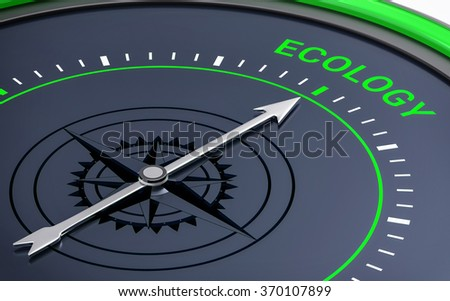 3D Compass. Ecology Word. Orientation, Aim or Target Concept.