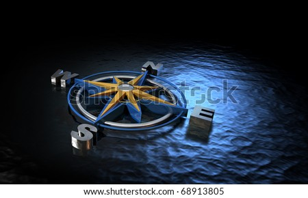 3D Compass floating on the ocean in low light - stock photo