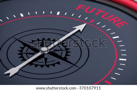 3D Compass. Future Word. Orientation, Aim or Target Concept. - stock photo