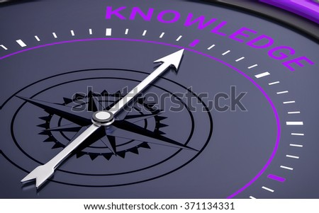 3D Compass. Knowledge Word. Orientation, Aim or Target Concept. - stock photo