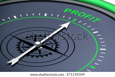 3D Compass. Profit Word. Orientation, Aim or Target Concept. - stock photo