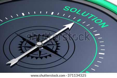 3D Compass. Solution Word. Orientation, Aim or Target Concept.