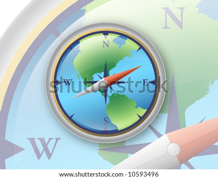3D compass with world map