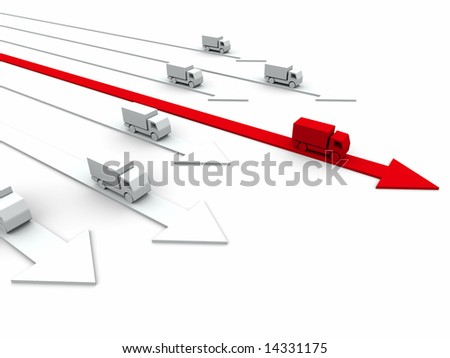 3d competition concept: fast delivery - stock photo