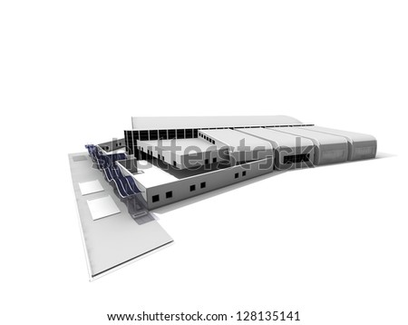 3D complex of modern buildings.