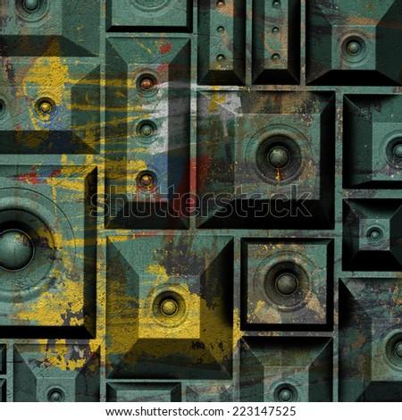 3d composition grunge old speaker sound system  - stock photo