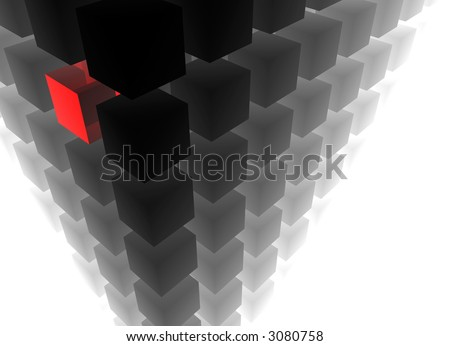 3d composition of grey cubes - individuality represented by a red cube among them