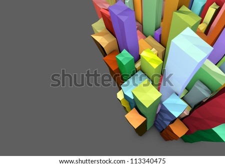 3d composition with rectangular shapes in multiple color on gray - stock photo