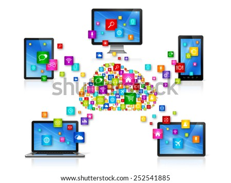 3D Computer devices isolated on white with apps icons. Cloud Computing Network concept - stock photo