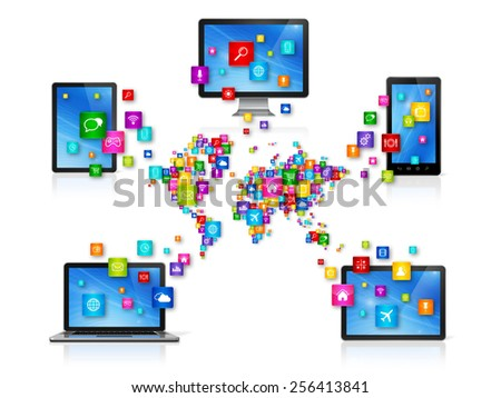 3D Computer devices isolated on white with apps icons. World Cloud Computing Network concept - stock photo