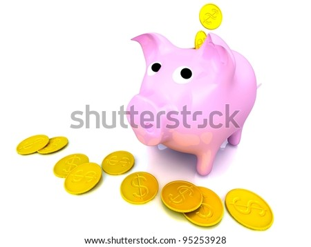 3d computer generated image of a piggy bank isolated on white - stock photo