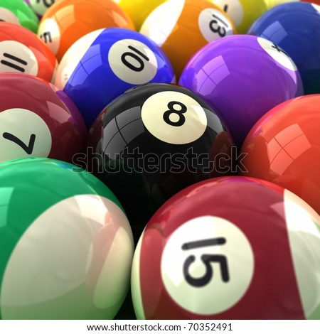 3d computer generated  image of a very closeup of colorful billiards balls - stock photo