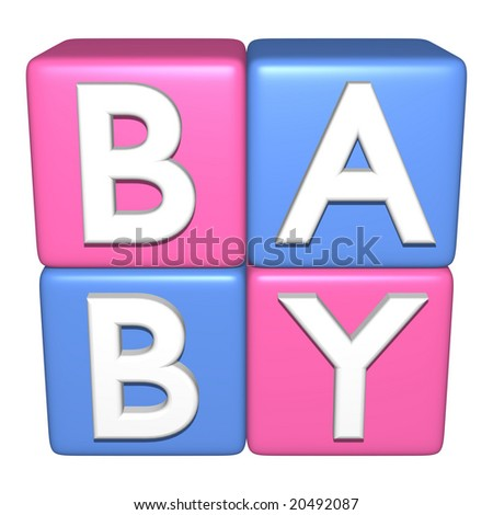 3D computer generated image of baby blocks isolated on a white background - stock photo