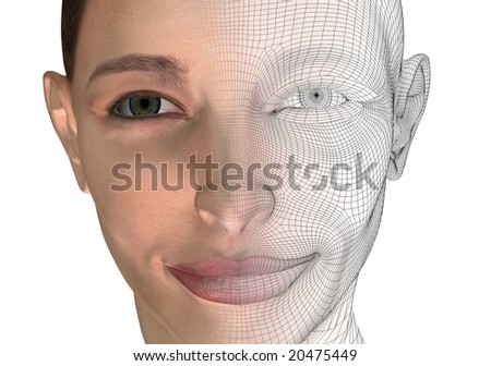 3d computer generated woman concept on white - stock photo