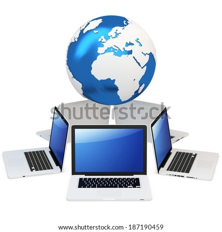 3d computer global mobile network with earth globe on white background