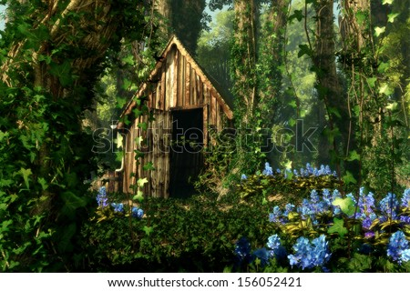 3D computer graphic of a wooden hut in the forest with blue flowers and tree trunks full of ivy - stock photo