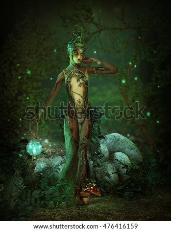 3d computer graphics of a  forest elf with lantern