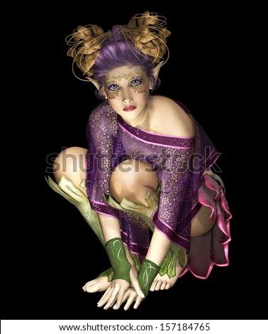 3d computer graphics of a little fairy with golden headdress surrounded by light sparks - stock photo