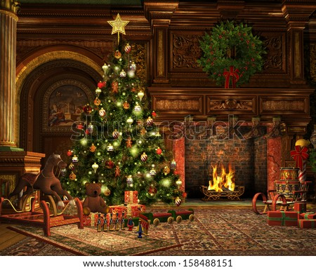 3d computer graphics of a living room on Christmas Eve - stock photo