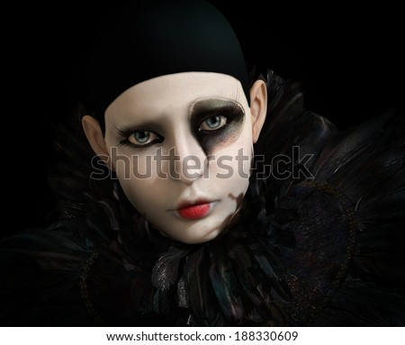 3D computer graphics of a Pierrot with black feather collar - stock photo