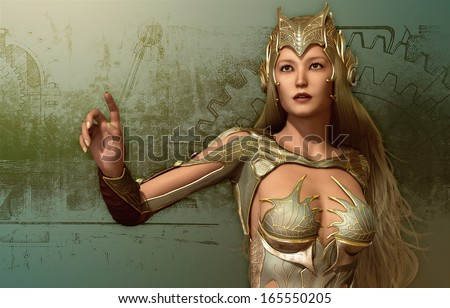3D computer graphics of a young woman in a fantasy armor